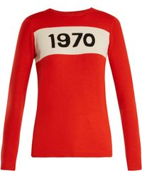 Bella Freud 1970 Graphic Wool Pullover Sweater - Red