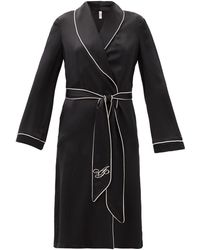 Agent Provocateur Womens Black Pink Contrast-piped Silk Robe M
