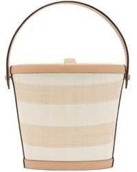 Hunting Season The Bucket Striped-rattan And Leather Bag - Multicolour