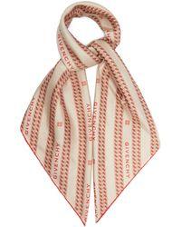 Givenchy ロゴ&チェーン シルクサテンスカーフ - ピンク
