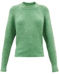 Isabel Marant Rosy Cropped Cotton-blend Sweater - Green