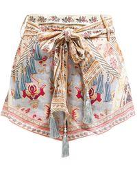 Camilla Jeanne Queen Print High Rise Linen Shorts - Pink