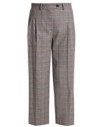 Stella Jean - Prince Of Wales Checked Mid-rise Cropped Trousers - Lyst