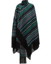 Erdem Thera Striped Cotton-blend Wrap Cape - Green