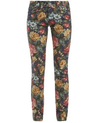 Junya Watanabe - Floral-print Mid-rise Skinny Jeans - Lyst