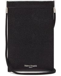 Maison Margiela Logo-print Grained-leather Neck Pouch - Black