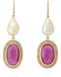 Jade Jagger Boucles d'oreilles en or à diamant, rubis et perle - Rouge