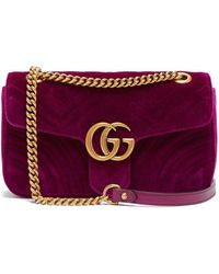 2d2610cae344b Lyst - Gucci Gg Marmont Mini Quilted Velvet Cross Body Bag in Blue