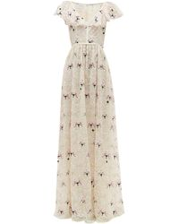 Giambattista Valli Floral Embroidered Chantilly Lace Tulle Gown - Multicolor