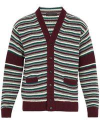 Prada - V-neck Striped Wool-blend Knit Cardigan - Lyst