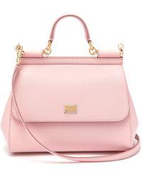 Dolce & Gabbana Sicily Medium Dauphine Leather Bag - Pink