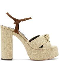 Saint Laurent - Bianca Knotted Raffia Platform Sandals - Lyst
