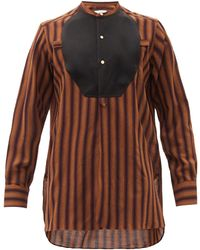 Wales Bonner - Kingston Contrast-bib Striped Wool Shirt - Lyst