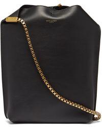 Saint Laurent Womens Black Chain-strap Small Leather Hobo Bag