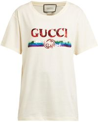 9dfb8145 Gucci - Sequin Embellished Logo Cotton T Shirt - Lyst