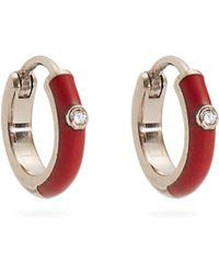 Marc Alary - Diamond, Enamel & White Gold Plated Earrings - Lyst