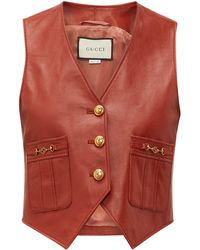 Gucci GG-button Leather Waistcoat - Red