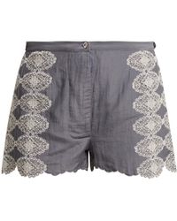 Thierry Colson Armand Lace Embroidered Shorts - Gray
