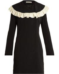 Emilia Wickstead Robe en cady de crêpe à plastron volanté Lisbet - Noir