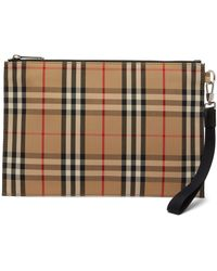 Burberry Checked Cotton-blend Canvas Pouch - Natural