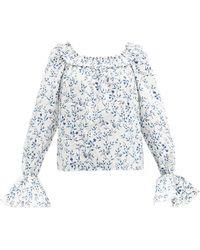 Agua by Agua Bendita Pina Ruffled Floral-print Cotton Top - Blue