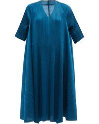 Pleats Please Issey Miyake トラぺーズドレス - ブルー