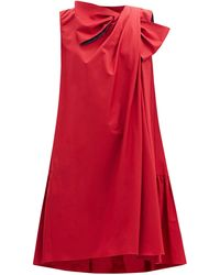 ROKSANDA Robe drapée en popeline de coton à naud Selena - Rouge