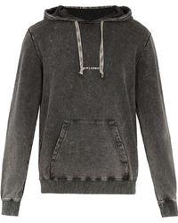 Saint Laurent - Logo-print Washed Hooded Sweatshirt - Lyst
