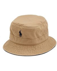Polo Ralph Lauren Logo-embroidered Cotton-twill Bucket Hat - Natural