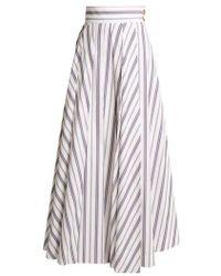 Awake - - Striped Cotton Maxi Skirt - Womens - White Multi - Lyst