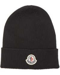 Moncler Logo-patch Ribbed-knit Wool Beanie Hat - Black
