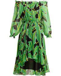 Diane von Furstenberg Robe en soie imprimée à épaules dénudées Camilla - Vert