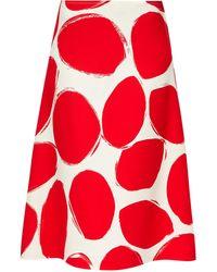 Marni Oval-print A-line Crepe Skirt - Red