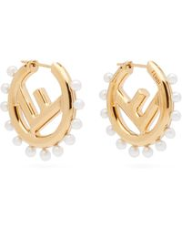 Fendi F Is Faux Pearl Hoop Earrings - Multicolour