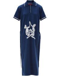 Thebe Magugu Sisterhood Logo-intarsia Knitted Polo Shirt Dress - Blue