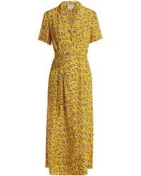 HVN - Long Maria Zebra Print Silk Dress - Lyst