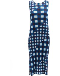 Pleats Please Issey Miyake チェックtシャツ - ブルー