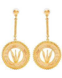 Glenda gold-plated hoop and disc-drop earrings Emilia Wickstead TBvIE