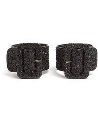The Attico Glitter Embellished Ankle Straps - Black