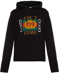 Gucci Sweat-shirt à capuche en jersey de coton à logo - Noir