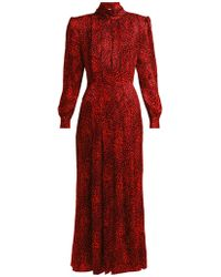 Alessandra Rich Leopard Jacquard Silk Dress - Red