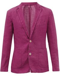 120% Lino Single-breasted Linen Jacket - Pink