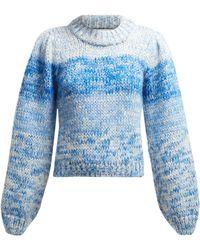 Ganni Julliard Mohair Chunky Knit Jumper - Blue