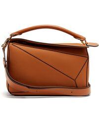 Loewe Puzzle Medium Grained-leather Cross-body Bag - Brown