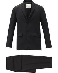 Jil Sander ウールツイル シングルスーツ - ブラック