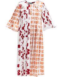 Chopova Lowena Egoo Pleated Cotton Midi Dress - Multicolour