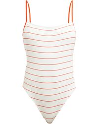 Solid & Striped - Chelsea Pinstriped Rib-knit Swimsuit - Lyst