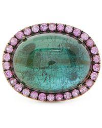 Rosa De La Cruz Bague en or 18 carats, saphir et tourmaline - Multicolore