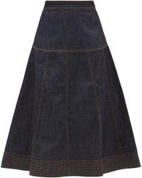 Wales Bonner Vision Raw-denim Midi Skirt - Blue