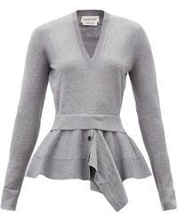 Alexander McQueen Peplum-panel Wool-blend Sweater - Gray